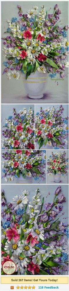 """Ribbon embroidered picture """"The vase with the flowers 4 """", Silk ribbon embroidery, 3D effect, ribbon flowers, ribbon work, floral picture https://www.etsy.com/SilkRibbonembroidery/listing/518372820/ribbon-embroidered-picture-the-vase-with?ref=related-5  (Pinned using https://PromotePictures.com) #SilkRibbonEmbroidery #ribbonembroidery #flowerembroidery #ribbonflower"""