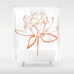 Orange Lotus Blossom Calligraphy Print Shower Curtain by Makanahele - $68.00
