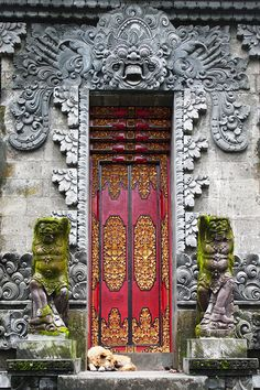 wakeourworld: (via TumbleOn) - balbuzart Plus Portal, Porch Windows, Windows And Doors, Steel Security Doors, Orange Door, Statues, Indonesian Art, Door Murals, Prayer Box