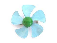 Vintage Enamel Flower Pin Blue Green Pinwheel by NostalgicFair