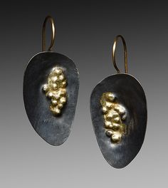 Oxidized Dimple Earrings by Peg Fetter: Gold & Silver Earrings available at www.artfulhome.com