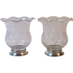 2 Cambridge Glass Chantilly Sterling Silver Base Cigarette Urns Vases Toothpick Holders