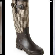 Banana Republic Glasgow Rainboots houndstooth Brown and cream houndstooth pattern. Adjustable bucket on the side to widen the calf area. Make me an offer!!! Willing to trade for a pair of Hunter 36.5 Rainboots. Banana Republic Shoes Winter & Rain Boots