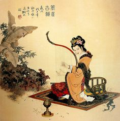 (China) by Xiang Weiren (项维仁, ). brush watercolor on silk. Japanese Prints, Japanese Art, Milk Art, Geisha Art, Chinese Cartoon, China Art, Chinese Culture, Chinese Painting, Aesthetic Art