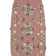 Embellished wool-crepe skirt ($1,135) ❤ liked on Polyvore featuring skirts, bottoms, gonne, miu miu, embellished pencil skirt, brown skirt, pencil skirt, high waisted sequin skirt and wool pencil skirt