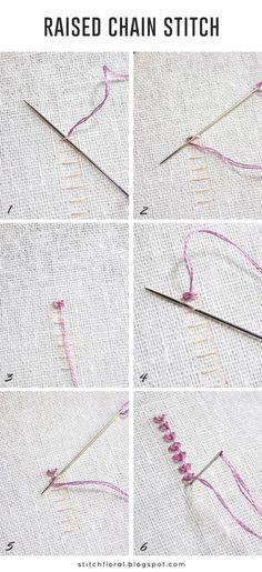 Raised chain stitch tutorial, how to raised chain stitch