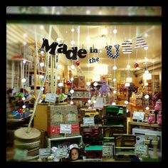 Check out the beautiful window display our employee Emma made featuring toys made in the USA