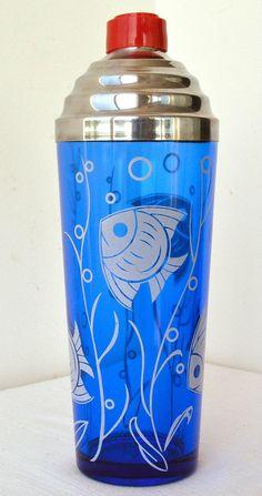 Vintage Cobalt Blue Art Deco Fish Cocktail Shaker Hazel Atlas Glass