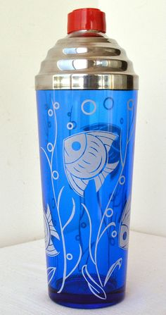 Vintage Cobalt Blue Art Deco Fish Cocktail Shaker Hazel Atlas Glass
