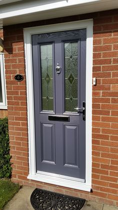 composite door #XtremeDoor York style door in slate grey and kara zinc glass.