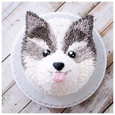 Dm me to be featured! What do you think about this picture? Animal Birthday Cakes, Puppy Birthday, Animal Cakes, Pretty Cakes, Cute Cakes, Dog Cakes, Cupcake Cakes, Wolf Cake, Baby Huskies