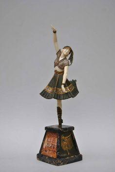 """Art Deco Sculpture """" Cossack Dancer"""" by Demetre H. Chiparus ca.1927."""