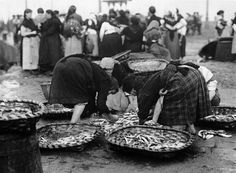 Vendedoras de peixe. Copia Pacheco, anos vinte | Women selling fish, Pacheco print, 1920's