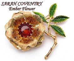 Vintage Sarah Coventry Brooch EMBER FLOWER by ALLUWANTISHERETODAY, $25.00