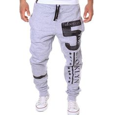 17.08$  Watch now - http://diesh.justgood.pw/go.php?t=160023701 - Hot Sale Beam Feet Letters Number Star Print Loose Fit Men's Lace-Up Sweatpants 17.08$