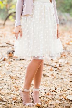 Courtney Polka Dot Tulle Lace Skirt
