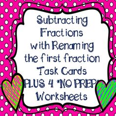 **32 Subtracting Mixed Number Task Cards PLUS 4 Worksheets** Includes 2 sets of task cards: 1 with QR Codes and 1 without, Student Recording Sheet And Answer Key for task cards and worksheets GREAT TEST PREP PRACTICE