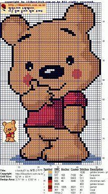 Winnie the Pooh cross stitch. Pixel Crochet Blanket, Graph Crochet, Tapestry Crochet, Crochet Baby, Crochet Patterns, Baby Boy Knitting Patterns, Knitting Charts, Knitting Stitches, Baby Knitting