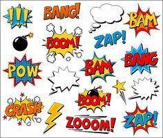 Superhéroe cómico gráfico libro Clip arte cómic texto voz burbujas - Boom, Zap, Bang, Bam, accidente, dichos sonidos de prisionero de guerra