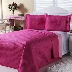 Cobre-leito Dual Color Casal com 2 Porta-travesseiros Pink e Rosa Orb
