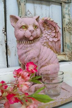 Cat statue pink shabby chic feline with green by AnitaSperoDesign, $140.00