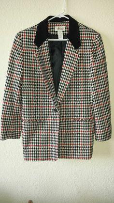 Vintage Worthington Houndstooth Wool Blazer with Velvet Collar Size 8