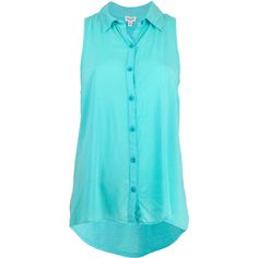 Splendid Aqua Sleeveless Shirt ($150) ❤ liked on Polyvore