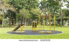 Outdoor fitness equipment in public park.