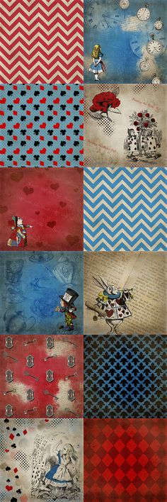 Alice in Wonderland Paper Pack 12 Digital Sheets by SassabyParties