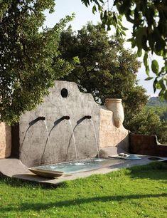 Best Home Garden Pool Water Features 58 Ideas Pool Water Features, Water Features In The Garden, Landscape Design, Garden Design, Magic House, Water Walls, Mediterranean Garden, Tuscan Decorating, Garden Fountains