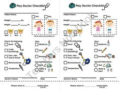 My Play Doctor Checklist & Appointment Cards - Imaginary/Dramatic Play product from Courtney McKerley on TeachersNotebook.com