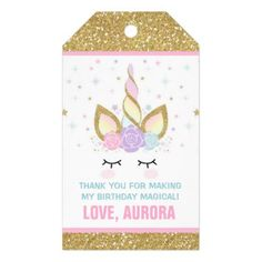 Unicorn Pink & Gold Party Favor Thank You Tag - glitter glamour brilliance sparkle design idea diy elegant