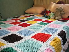 Lovely granny square blanket!