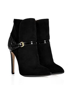 EMILIO PUCCI  Black Patent and Suede Ankle Boots