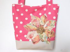 Pink Fabric Tote Bag Womens Tote Bag Pink by BerkshireCollections