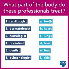 Do any of these professions interest you? What part of the body do they treat? To see the correct answers, click here: https://www.pinterest.com/pin/450500768956207552/