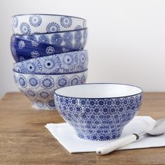 Blue and White Cereal Bowls