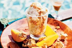 Slip your spoon into this luscious home-made ice-cream with macadamia and…