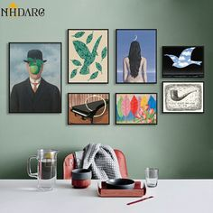 Rene Magritte Exclusive Combination of Light Luxury Vintage Series Canvas Print Painting Poster Wall Picture for Home Decor Decoration, Art Decor, Home Decor, Types Of Art Styles, Canvas Wall Art, Canvas Prints, Modern Canvas Art, Rene Magritte, Nordic Art