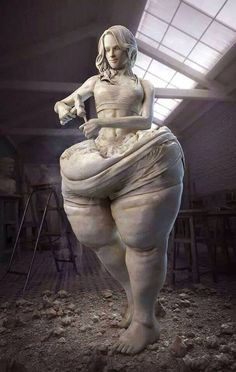 """So you finally have to sculpt yourself to look like this ? Is that the message?"" A piece that truly speaks to modern times."