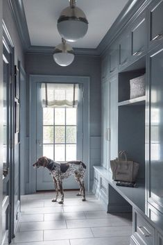 Grey Slate Floor Tiles, Beautiful Interiors, Slate Flooring, Mudroom, Slate Tile Floor, House Tours, Interior Design Boards, Shiplap Trim, Built In Lockers