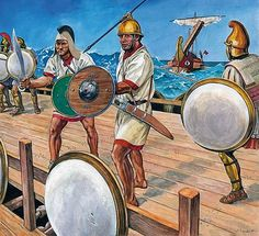 Carthaginian marines stand on the deck of their ship as they prepare for Roman ships to first ram them, and then to board their ship. With weapons ready, they wait for the Romans to attack. Ancient Rome, Ancient Greece, Ancient Art, Ancient History, Carthage, Iron Age, Punic Wars, Roman Soldiers, Orient