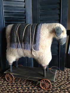 SHEEP PULL TOY by VillagePrimitivesbyM on Etsy, $64.00