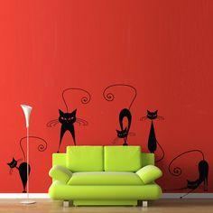 Vinyl Wall Decal Sticker Art  Pussy Cat Crew   by wordybirdstudios