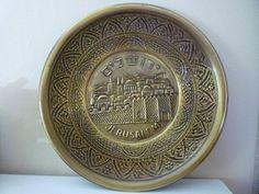 Vintage Judaica brass plated Jerusalem wall hanging by shainkeit, $10.00