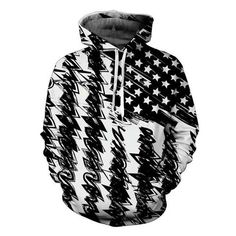 Black USA Flag 3D Hoodie