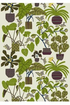Marimekko Beige/Green Ikkunaprinssi Fabric Deep greens and dark browns reach out across Erja Hirvi's 2011 Ikkunaprinssi print. With a soft and subtle beige background, the bold shapes and silhouettes of the Marimekko Beige/Green Ikkunaprinssi F. Textile Prints, Textile Patterns, Textile Design, Color Patterns, Fabric Design, Print Patterns, Lino Prints, Floral Patterns, Block Prints