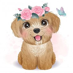 Illustration Blume, Cute Animal Illustration, Illustration Vector, Floral Illustrations, Watercolor Illustration, Baby Animal Drawings, Cute Drawings, Watercolor Flower Background, Floral Watercolor