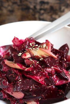 Rote-Bete-Salat mit Rhabarber und Feige I vegan