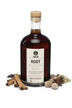 "ROOT: An 80-proof spirit that shares its heritage with ""root tea"", the precursor to modern root beer.    Too bad the Utah State Liquor Store doesn't carry it, and I can't mailorder it. Stupid liquor laws."